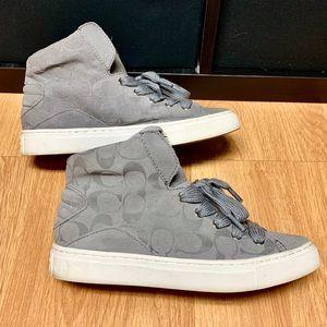 COACH Signature Renee High Top Sneakers Gray Sz 8